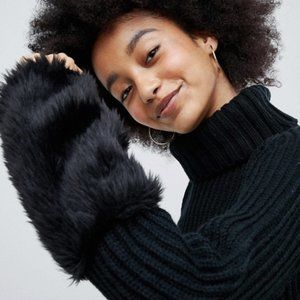 ASOS Black Turtle Neck Sweater with Fur Sleeve